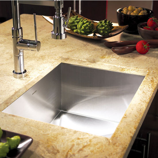 Houzer Contempo Stainless Steel Zero-Radius Single Bowl Sink