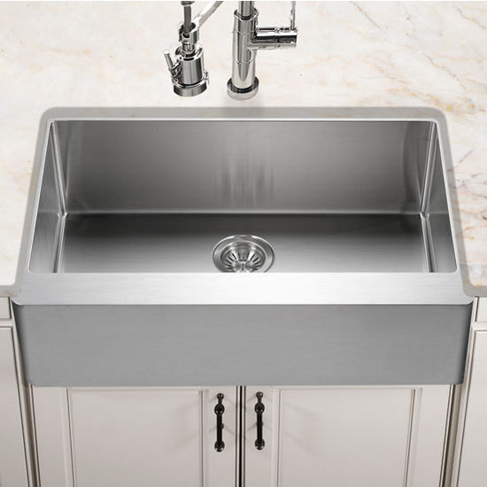 """Houzer Epicure Series Apron Front Gourmet Single Bowl Kitchen Sink in Satin Stainless Steel, 33"""" W x 20"""" D, 10"""" Bowl Depth"""