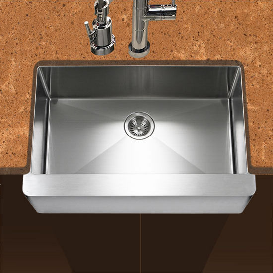 """Houzer Epicure Series Apron Front Single Bowl Kitchen Sink in Satin Stainless Steel, 30"""" W x 20"""" D, 10"""" Bowl Depth"""