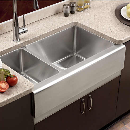 Houzer Epicure 70/30 Double Bowl Farmhouse Sink