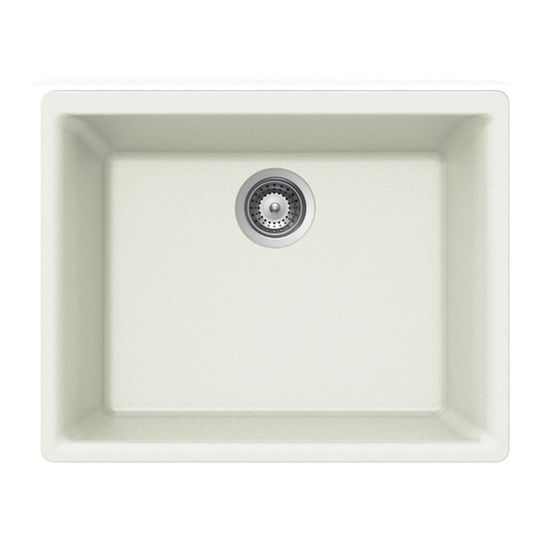 Houzer Quartztone Granite Undermount Single Bowl in Cloud Color, 23-5/8'' W x 18-5/16'' D, 8-11/16'' Bowl Depth
