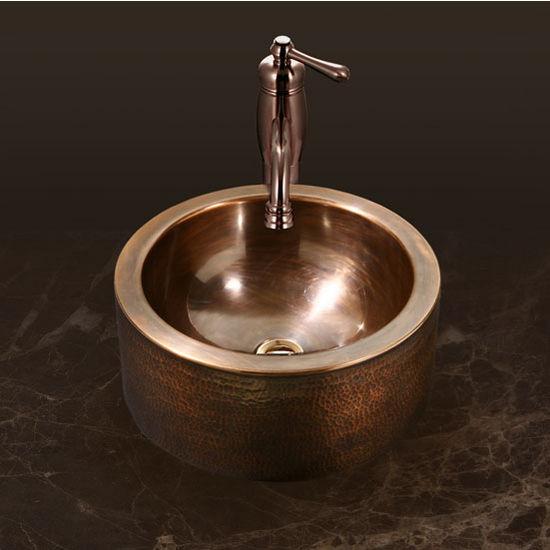 """Houzer Hammerwerks Series Round Vessel Bathroom Sink with Apron in Antique Copper, 15"""" Diameter x 5-1/4"""" Bowl Depth, 6-1/4"""" H"""