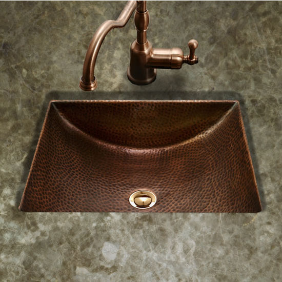 "Houzer Hammerwerks Series Concave Undermount Lavatory Bathroom Sink in Antique Copper, 20-1/2"" W x 17"" D, 6"" Bowl Depth"