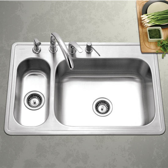 Houzer Legend Series 80/20 Topmount Double Bowl Sink