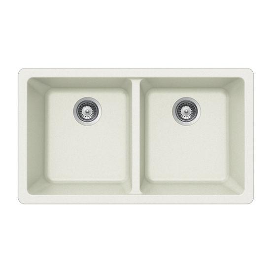 Houzer Quartztone Granite Undermount 50/50 Double Bowl in Cloud Color, 33'' W x 18-1/2'' D, 9-1/2'' Bowl Depth