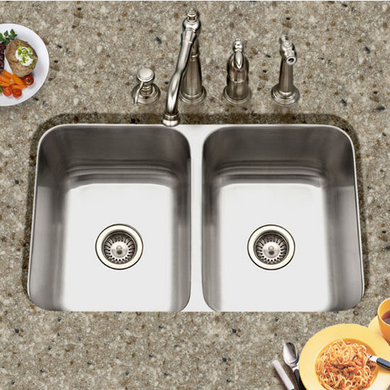 Houzer Medallion Gourmet Series 50/50 Undermount Double Bowl