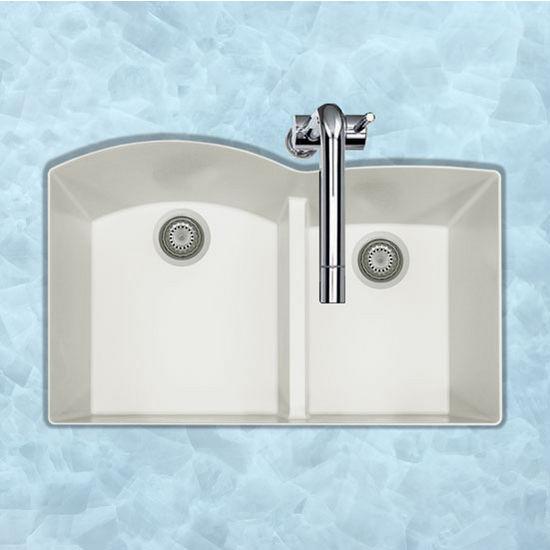 "Houzer Quartztone Granite Series Undermount 60/40 Double Bowl Kitchen Sink in Cloud Color, 33"" W x 20-6/8"" D, 9-1/2"" Bowl Depth"