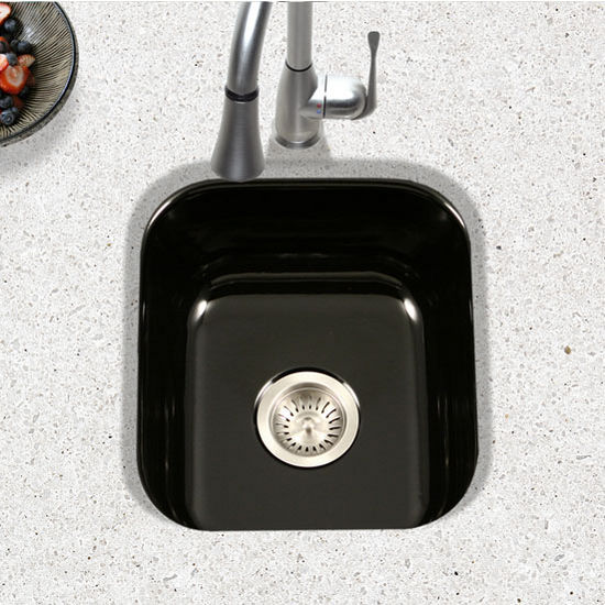 Houzer Porcela Collection Porcelain Enamel Steel Undermount Square Bar Sink  In Black Color, 15