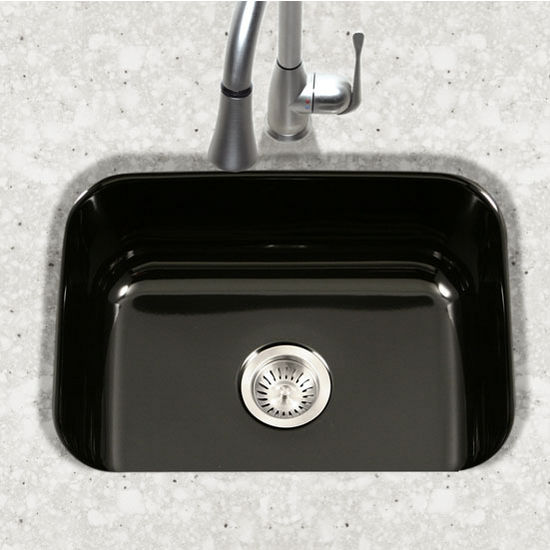 Houzer Porcela Collection Porcelain Enamel Steel Undermount Single Bowl in Black Color, 22-3/4'' W x 17-3/8'' D, 9'' Bowl Depth
