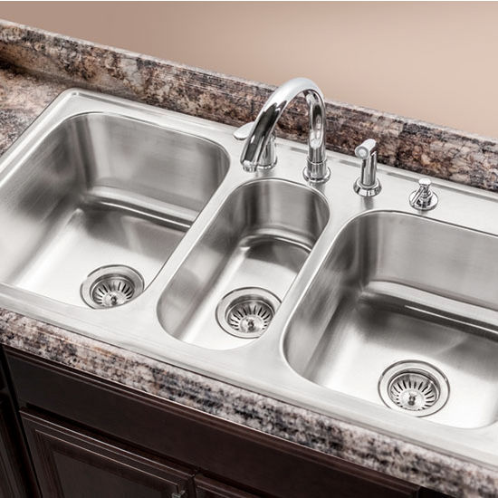 3 bowl kitchen sinks premiere gourmet series topmount bowl kitchen sink 3853