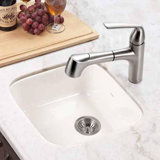Houzer Platus Series Fireclay Undermount Square Bar Sink, Biscuit Finish, 18-7/8''W x 18-7/8''D x 7''H