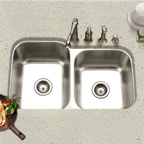 Houzer - Undermount 60/40 Double Bowl Kitchen Sink
