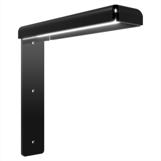 """Federal Brace Freedom Eco-Lucent Hidden Countertop Bracket System in Black, 2"""" W x 8"""" D x 8"""" H"""