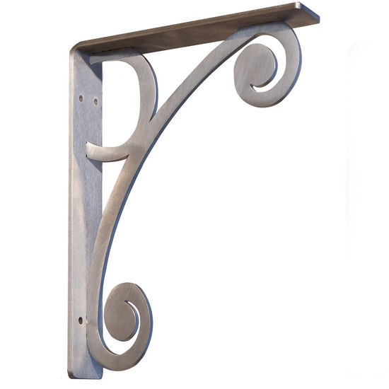 "Federal Brace Eleuthera Metal Corbel, 9""W x 12""H, Stainless Steel"