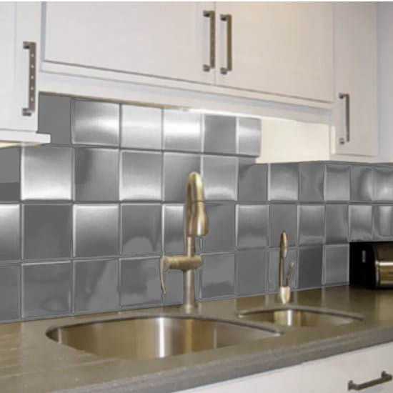 Metal Tiled Hood Wall Backsplash