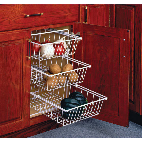 Baskets Above Kitchen Cabinets: 3-Tier Pull-Out Vegetable Baskets For Kitchen Base Cabinet