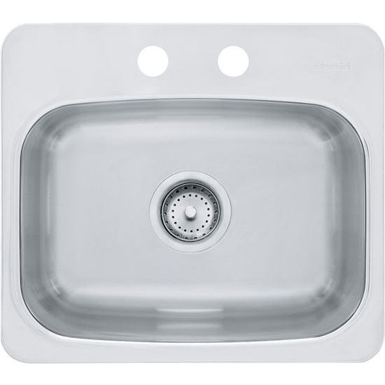 Franke Axis Single Bowl Drop In Kitchen Sink with 2 Holes, Mirror-Silk Stainless Steel, 20 Gauge