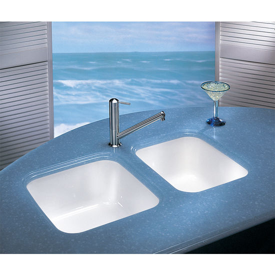 Franke Fireclay Sink, White, shown on right
