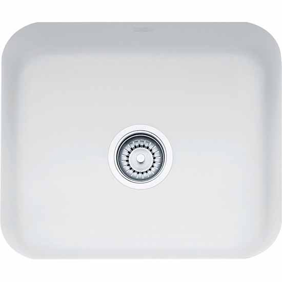 Franke Fireclay Sink, White, shown on left