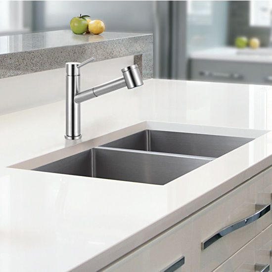 cube double bowl undermount kitchen sink made of 18 gauge stainless steel measuring 31 1 2 w x. Black Bedroom Furniture Sets. Home Design Ideas