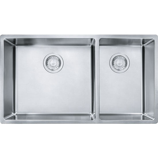 Cube Offset Double Bowl Undermount Kitchen Sink Made Of 18 Gauge
