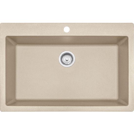 Franke Primo Large Single Bowl Drop In Kitchen Sink, Granite, Fragranite Champagne