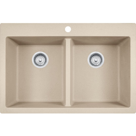 Primo Double Bowl Drop In Kitchen Sink Made Of Granite Measuring