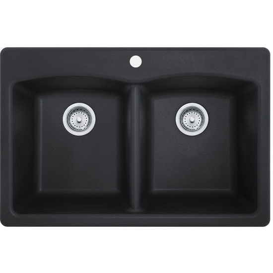 Ellipse Double Bowl Drop In Kitchen Sink Made Of Granite