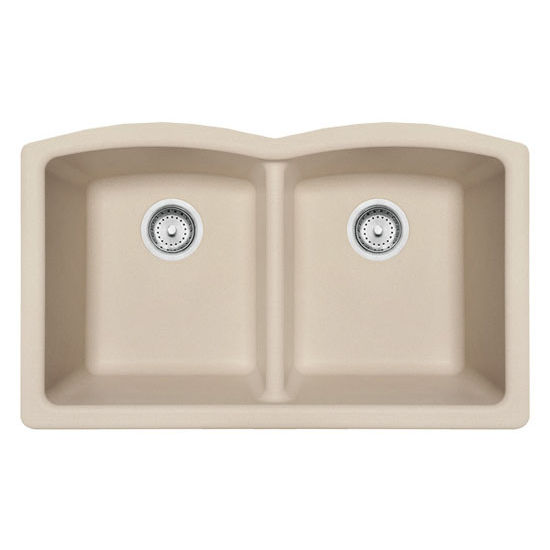 Franke Ellipse Double Bowl Undermount Kitchen Sink, Granite, Fragranite  Champagne