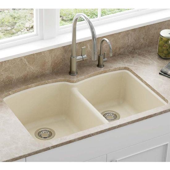 Undermount Kitchen Sink With Drainer Ellipse offset double bowl undermount kitchen sink made of granite situational w champagne sink workwithnaturefo