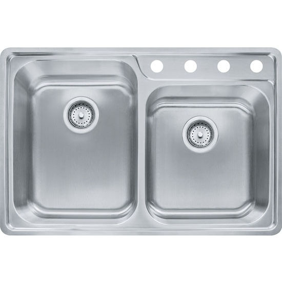 Evolution Offset Double Bowl Drop In Kitchen Sink With A