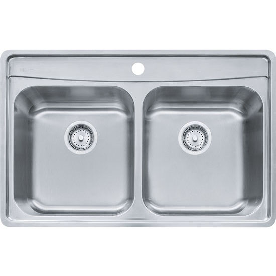 Franke Evolution Double Bowl Drop In Kitchen Sink with C Deck 1 Hole, Stainless Steel, 18 Gauge