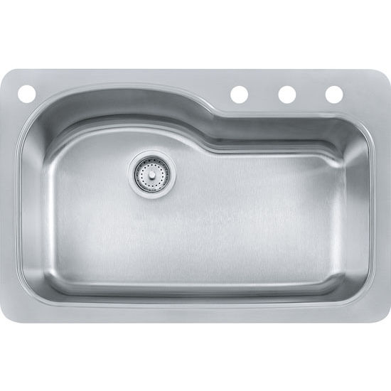 Kinetic large single bowl drop in kitchen sink with 4 holes made of franke kinetic large single bowl drop in kitchen sink with 4 holes stainless steel workwithnaturefo