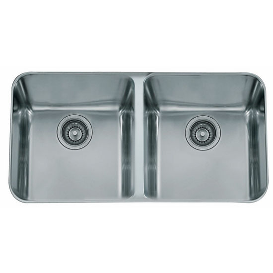 "Franke Largo Double Bowl Undermount Sink, 18 Gauge, Stainless Steel, 34"" W x 19-7/8"" D"