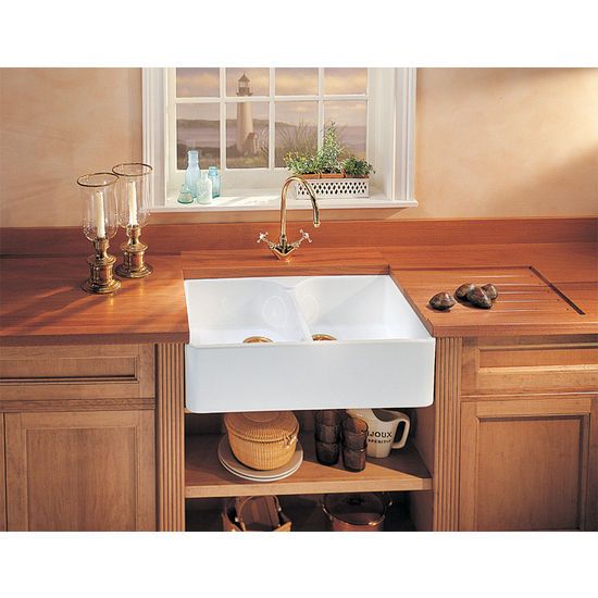 Fireclay Apron Front Double Bowl Sinks, shown in White