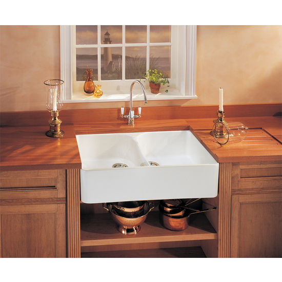 Fireclay Apron Front Double Bowl Sink, shown in White