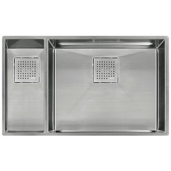 "Franke Peak Double Bowl Undermount Sink Small Bowl Left, Stainless Steel, 31-1/8"" W x 17-3/4"" D"