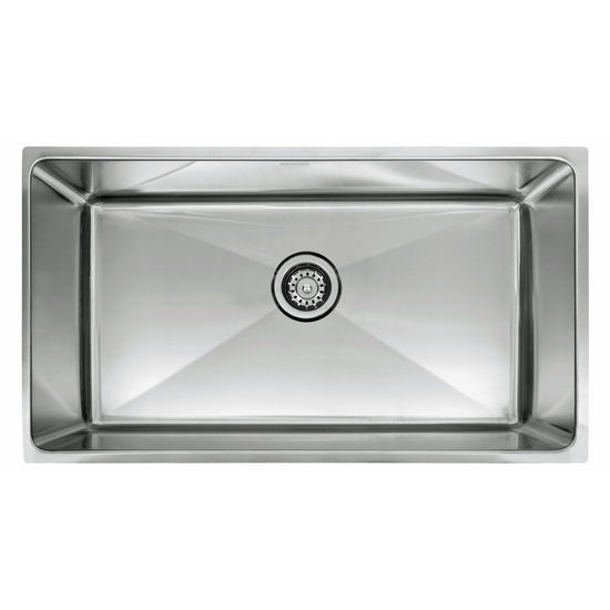 "Franke Professional Series Single Bowl Undermount Sink,16 Gauge, Stainless Steel, 34"" W x 19-5/8"" D"