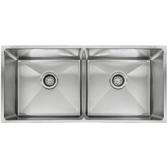 "Franke Professional Series Double Bowl Undermount Sink,16 Gauge, Stainless Steel, 35-1/16"" W x 18-1/8"" D"