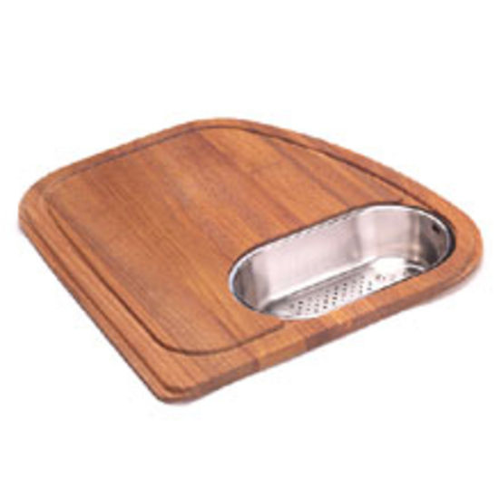 Solid Wood Cutting Board With Polished Stainless Steel Colander