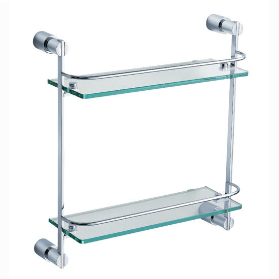 "Fresca Magnifico Wall Mounted 2 Tier Glass Shelf in Chrome, Dimensions: 15-1/4"" W x 5"" D x 15-7/8"" H"