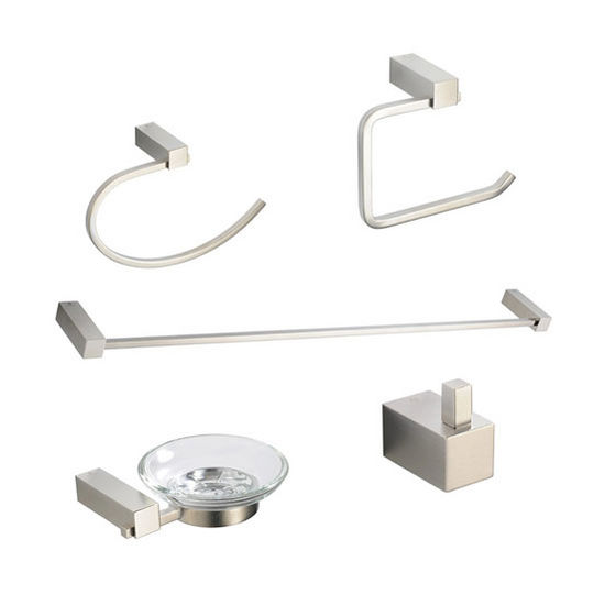 Fresca Ottimo Wall Mounted 5-Piece Bathroom Accessory Set in Brushed Nickel