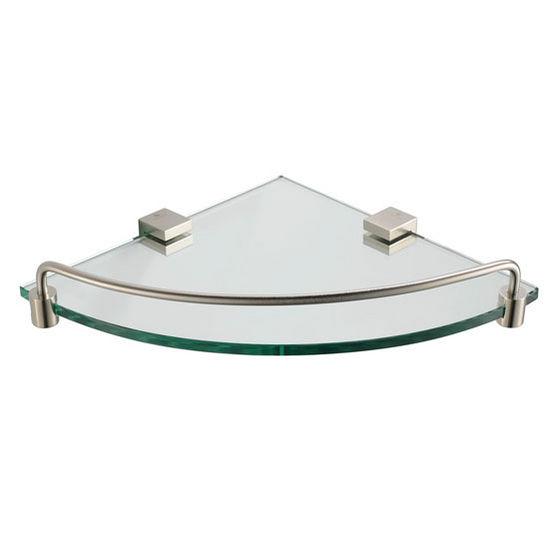 "Fresca Ottimo Wall Mounted Corner Glass Shelf in Brushed Nickel, Dimensions: 11-3/4"" W x 8-1/4"" D 1-7/8"" H"