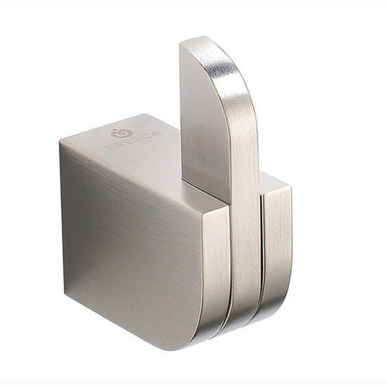 "Fresca Solido Wall Mounted Robe Hook in Brushed Nickel, Dimensions: 1-1/2"" W x 1"" D x 2"" H"