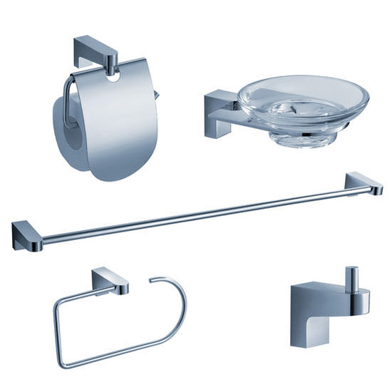 Fresca Generoso Wall Mounted 5-Piece Bathroom Accessory Set in Chrome