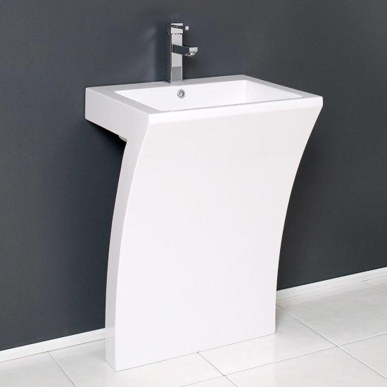 """Fresca Quadro 23"""" White Pedestal Sink, 22-1/2"""" W x 18"""" D x 33-1/4"""" H"""