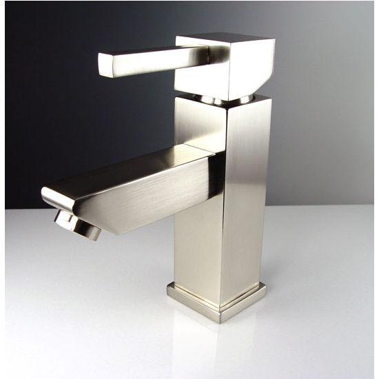 "Fresca Versa Single Hole Mount Bathroom Vanity Faucet in Brushed Nickel, Dimensions: 1-5/8"" W x 6"" D x 6-3/4"" H"