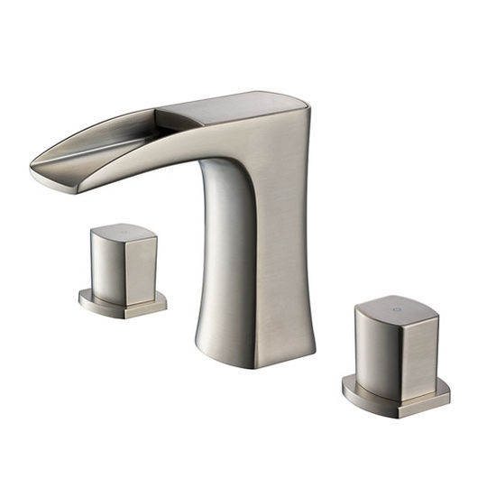 """Fresca Fortore Widespread Mount Bathroom Vanity Faucet in Brushed Nickel, Dimensions: 9"""" W x 4-4/5"""" D x 5-1/5"""" H"""