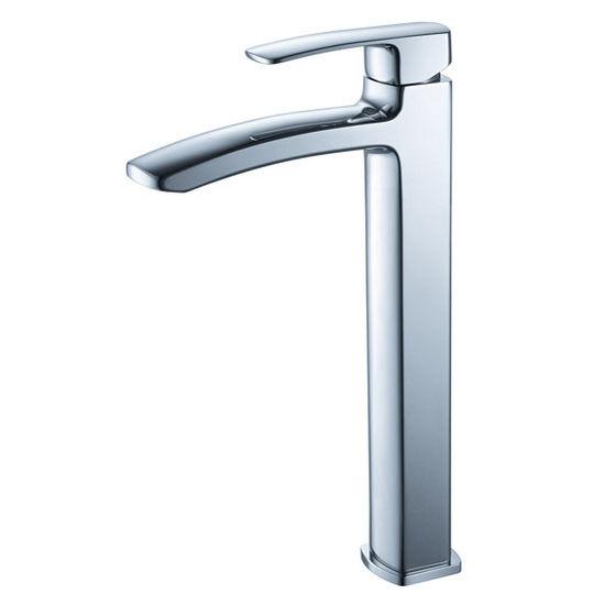 "Fresca Fiora Single Hole Vessel Mount Bathroom Vanity Faucet in Chrome, Dimensions: 2"" W x 6-29/32"" D x 12-3/5"" H"