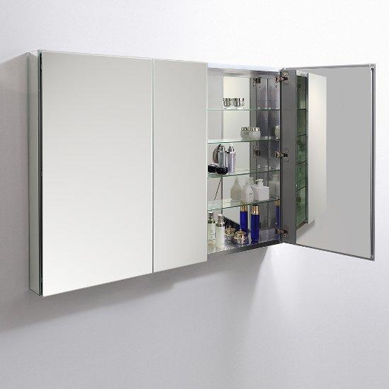 50 Wide X 36 Tall Anodized Aluminum Bathroom Medicine Cabinet W